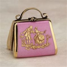 Limoges Pink Purse with Gold Couple Box The Cottage Shop