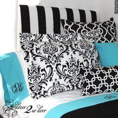Design Your Own Banded Sheet Set Blue Teen Bedrooms, Pink Dorm Rooms, Boho Dorm Room, Teen Room Decor, Dorm Room Headboards, Dorm Room Bedding, Teen Bedding, Bedding Decor, Tiffany Blue Bedding