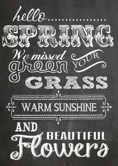 Spring, we missed your green grass, warm sunshine and.....