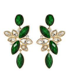Evergreen  Gold Crystal Tamira Drop Earrings