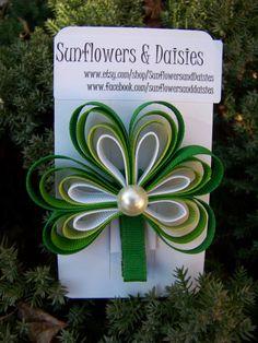 St Patrick's Day Shamrock Hair Clip Ribbon by SunflowersandDaisies, $6.00 - nice effect