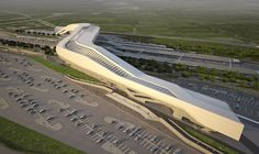 The Napoli Afragola station connecting Bari and Reggio Calabria with the North of Italy, designed by Zaha Hadid Architects. Above, image credit Zaha Hadid… Zaha Hadid Architektur, Arquitectos Zaha Hadid, Zaha Hadid Design, Futuristic Architecture, Architecture Details, Harvard Architecture, Public Architecture, Famous Architecture, Chinese Architecture