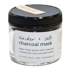 We've collaborated with our friend Sami of Florapothecarie to bring you a limited edition Cinder + Salt charcoal facial mask. Charcoal — harvested sustainably from American wood — has incredible detox