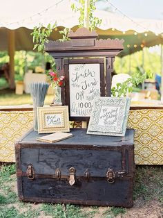 Sparkler send off details, guest book table, and a wedding hashtag - love the trunk as a table! Woodland Wedding, Rustic Wedding, Wedding Signage, Luxury Wedding, Illinois, Mod Wedding, Wedding Ideas, Summer Wedding, Wedding Photos