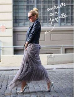 tulle skirt with moto jacket- Ways to wear the midi tulle skirts http://www.justtrendygirls.com/ways-to-wear-the-midi-tulle-skirts/