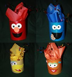 Sesame street centerpieces/ cans decorated as characters Monster Birthday Parties, Elmo Party, 1st Boy Birthday, 2nd Birthday Parties, Birthday Ideas, Sesame Street Party, Sesame Street Birthday, Anniversaire Elmo, Sesame Street Centerpiece