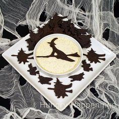 Cackling Crackers and Full Moon Dip - a Hungry Halloween recipe  Make a clock like this and use witch on broom as the hands of the clock