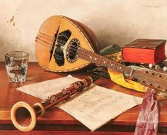 Oswald Eichinger {born ~ still life with musical instruments Half Elf Bard, Advanced Higher Art, Music Illustration, All About Music, Painting Still Life, Canvas Paper, High Art, The Witcher, Art Music