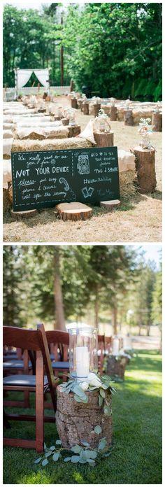 rustic tree stump wedding aisle decor ideas / http://www.deerpearlflowers.com/rustic-woodsy-wedding-trend-tree-stump/ #rustic #rusticwedding #countrywedding #weddingideas