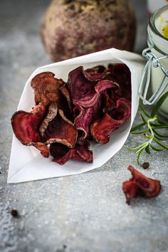 Baked Beetroot Chips - a healthy and addictive treat for tonight's movie time or as a simple snack. Baked totally fat free and tossed with sea salt, pepper and herbs for spicy accents!