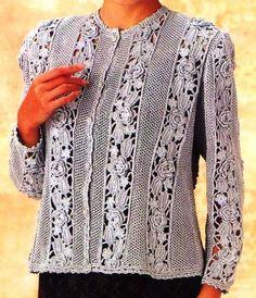 Crochet Jacket, Crochet Cardigan, Irish Crochet, Knit Crochet, Poncho Tops, Crochet Magazine, Irish Lace, Crochet Clothes, Crochet Flowers