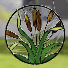 stained glass cattail suncatcher, stain glass cattail ornament on Etsy