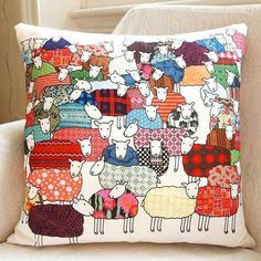 Baa baa baaack up, sheep! Pillow made by Mary Kilvert and available via Etsy. More Sheep Fun From Mary Kilvert: This post contains affiliate links. Free Motion Embroidery, Hand Embroidery, Machine Embroidery, Creative Embroidery, Fabric Art, Fabric Crafts, Cute Pillows, Throw Pillows, Scatter Cushions