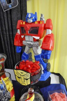 Transformers birthday party decorations! See more party ideas at CatchMyParty.com!