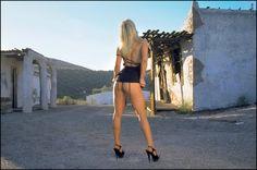 Sexy Aspen Renee Blonde Fox Black Dress Public