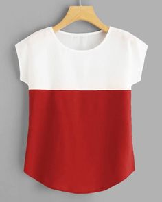 Round Neck Color Block Top are in the right place about Women Pants for kurti Here we offer you the most beautiful pictures about the Women Pants casual you are looking for. Casual Tops For Women, Blouses For Women, Pants For Women, Casual Skirt Outfits, Ladies Dress Design, Pulls, Cool Shirts, Blouse Designs, Fashion Outfits
