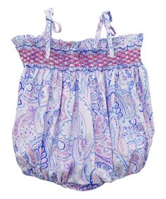 Look what I found on #zulily! Blue Geometric Smocked Bubble Romper - Infant #zulilyfinds