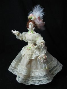 June SALE , Miniature Porcelain 1/12 scale doll, Jenny in her Easter bonnet and antique Lace by Kay Brooke
