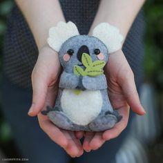 Follow this simple tutorial and craft yourself a cute koala stuffie. #crafts #DIY http://liagriffith.com/diy-felt-koala-stuffie/…