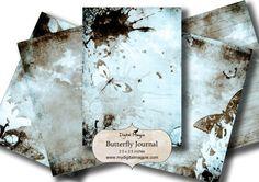Télécharger imprimable collage numérique feuille ATc tag 2,5 x 3,5 pouces légèrement grungy papillons journal papier bleu et marron contexte numérique