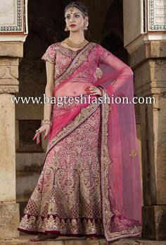 Marvelous Pink Silk And Velvet Lehenga Choli