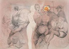 Mischtechnik auf Karton; gerahmt 62,5 x 88 cm Schätzpreis: 10000 - 18000 € Modern Art, Contemporary Art, Perfect World, Surrealism, 1980s, Art Nouveau, Literature, Auction, Statue