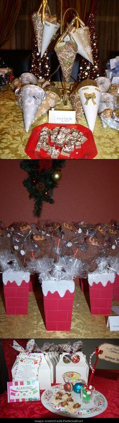 Cookie exchange. Cookie exchange packaging. Reindeer cookies. Cone package. Cookie container.