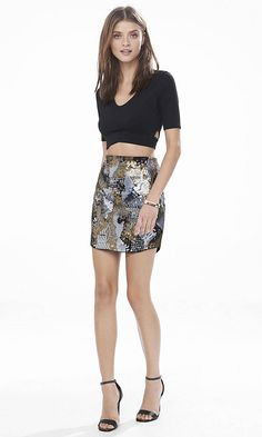 Camo Sequin Mini Skirt | Express