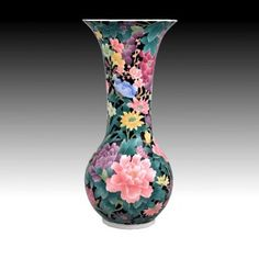 Chinese Bone China, Porcelain Vase with Hand Painted Floral Motif