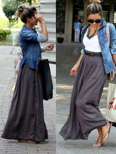 White tee with a gray maxi skirt and a chambray shirt as a cardigan