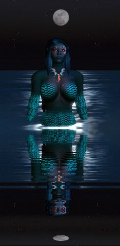 Mermaid and moon (Second Life)
