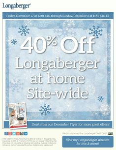 Bigest sale of the year visit my longaberger at home enjoy 40% www.longaberger.com/mariaammar