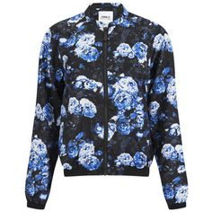 ONLY Women's Rayne Floral Bomber Jacket - Blue (€22) ❤ liked on Polyvore featuring outerwear, jackets, tops, coats & jackets, blue, blue jackets, zipper jacket, blue biker jacket, floral bomber jacket and black bomber jacket