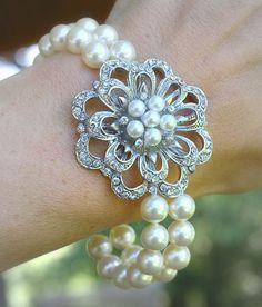 Rhinestone Flower Brooch and Swarovski Crystal Pearl Bracelet by ChristaMarieBoutique