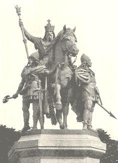 Statue de Charlemagne et ses leudes, devant Notre Dame, Paris.- CHARLEMAGNE. 4) BIOGRAPHIE 4.3: DEBUT DE REGNE AVEC CARLOMAN (768-771), 3: En 771, peu après un peu plus de 3 années de règne et une paix relative entre les 2 frères, Carloman meurt brusquement au palais carolingien de SAMOUSSY, près de Laon. Dès le lendemain de sa mort, Charles s'empare de son royaume, usurpant l'héritage de ses neveux.