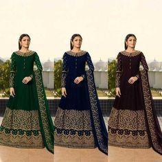 Anarkali Salwar Suit Party Wear Elegant Faux Georgette Gown Style Salwar Suit KF