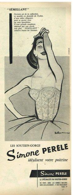 Publicité Advertising 1957 Lingerie Sous Vetement Soutien Gorge Simone Pérèle   eBay
