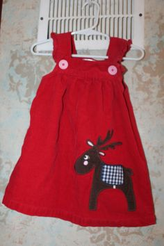 Mini Boden Red Reindeer Applique Jumper Dress 18 24 EUC corduroy