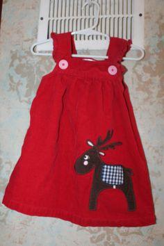 Mini Boden Red Reindeer Applique Jumper Dress 18 24 EUC corduroy