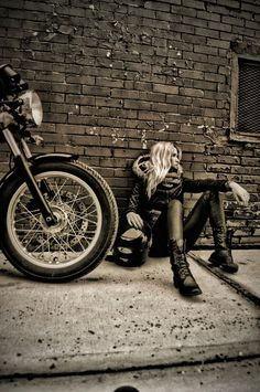 Louna Payette-Brisson from Quebec and her Triumph Thruxton, photographed by Marc-Andre Jobin.