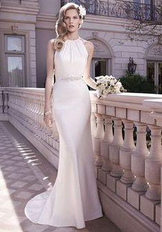 Halter Satin Sheath/ Column Natural Waist Chic Wedding Dresses