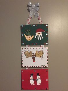 Grandparent Gifts for this year - made with canvases from the Dollarstore, acrylic paints, gems and little bells from the Dollarstore. Love how they turned out.did one panel for each of my three kids 🎅🏼🌲🎅🏼 - Gift Ideas For BoyFriend Preschool Christmas, Christmas Activities, Christmas Art, Christmas Projects, Christmas Ornaments, Christmas Crafts For Kids To Make Toddlers, Christmas Ideas, Diy Christmas Keepsakes, Christmas Decorations Diy For Kids
