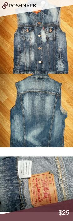 Levi's Trucker Vest Women's Levi's Small Trucker Vest.  Button Front Bleach Look (not sure if it was made like this or done after purchase). Super cute trendy Denim vest  100% Cotton. Any questions please ask.  Thank You  Levi's Jackets & Coats Vests