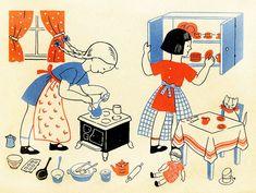 Book illustration:  Let's Play House, Lois Lenski, 1944