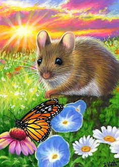 ACEO original mouse butterfly sunrise flower summer wildlife painting art  | eBay