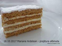Prajitura Albinita (Dulcineea) cu foi cu miere si crema de gris. Albinita este cunoscuta si ca Albinuta, Prajitura Dulcineea, Prajitura Claudia, Mimoza, Mez Vanilla Cake, Desserts, Food, Tailgate Desserts, Deserts, Eten, Postres, Dessert, Meals