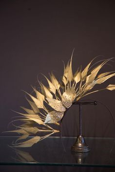 Gold Arrow Feather Band with Diamente Leaves | UK Nationwide Hats for Sale, Hats for Hire