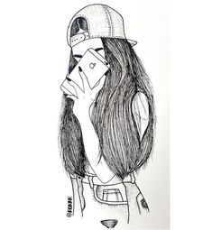imagem descoberto por shaymagyan77. Descubra (e salve!) suas próprias imagens e vídeos no We Heart It Tumblr Drawings, Drawings Of Friends, Dark Art Drawings, Girly Drawings, Pencil Art Drawings, Tumblr Sketches, Cute Drawings Of Girls, Outline Drawings, Girl Pencil Drawing