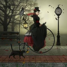 & Ride with Penny Farthing& by Joe Diamond. Because the more steampunk Halloween, the better. Steampunk Mode, Steampunk Kunst, Steampunk Fashion, Steampunk Bicycle, Steampunk Drawing, Fantasy Magic, Fantasy Art, Magic Art, Art Magique