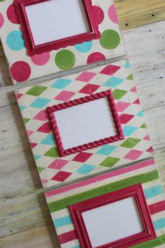 Distressed Picture Frames SET of 3 Shabby Chic by deltagirlframes, $195.00  Big Girl Room!!!